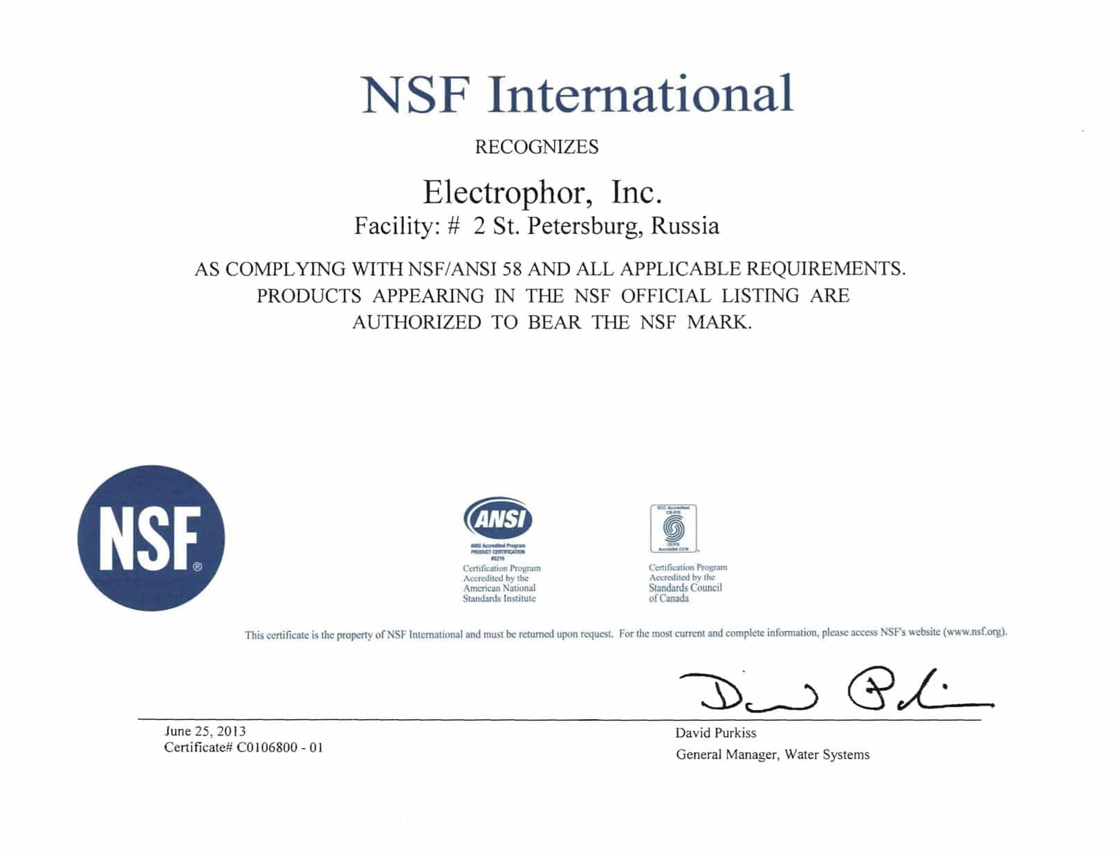 aquaphor water filter | nsf certificate